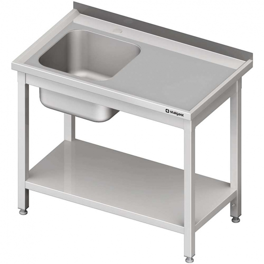 Stół ze zlewem 1-kom.(l),z półką 1000x700x850 mm spawany
