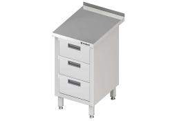 Stół przyścienny z blokiem trzech szuflad 455x700x850 mm