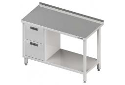 Stół przyścienny z blokiem dwóch szuflad (l),i półką 1200x600x850 mm