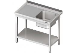 Stół ze zlewem 1-kom.(p),z półką 1200x600x850 mm spawany