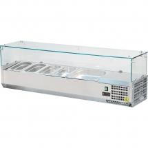 Witryna chłodnicza nastawna 7xgn 1/4 1600x335x435 mm z szybą - Centrum Wyposażenia Sklepów