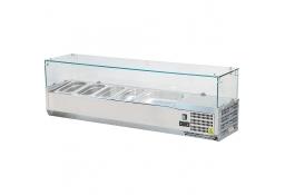 Witryna chłodnicza nastawna 7xgn 1/4 1600x335x435 mm z szybą