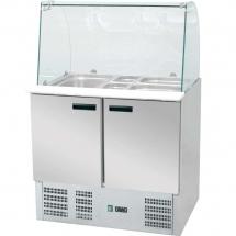 Stół chłodniczy sałatkowy z nadstawą szklaną 392 l +2/+8°c 1365x700x1300 - Centrum Wyposażenia Sklepów