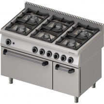 Kuchnia gazowa 6 palnikowa wym. 1200x700x850 z piekarnikiem gazowym (800) 32,5+6 kw - g20 (gz50)