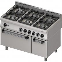Kuchnia gazowa 6 palnikowa wym. 1200x700x850 z piekarnikiem gazowym (800) 36,5+6 kw - g30/31 (propan-butan)