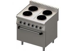 Kuchnia elektryczna 4 palnikowa wym. 800x700x850 z piekarnikiem elektrycznym  (800) 10,4+7 kw (3 systemy grzania)