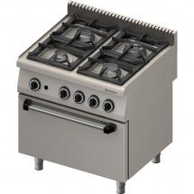Kuchnia gazowa 4 palnikowa wym. 800x700x850 z piekarnikiem elektrycznym (800) 20,5+7 kw (statyczny) - g20 (gz50)