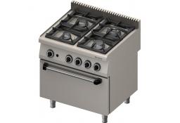 Kuchnia gazowa 4 palnikowa wym. 800x700x850 z piekarnikiem elektrycznym (800) 22,5+7 kw (statyczny) - g30/31 (propan-butan)