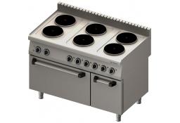 Kuchnia elektryczna 6 palnikowa wym. 1200x700x850 z piekarnikiem elektrycznym (800) 15,6+7 kw (3 systemy grzania)