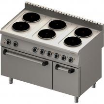 Kuchnia elektryczna 6 palnikowa wym. 1200x700x850 z piekarnikiem elektrycznym (800) 15,6+7 kw (statyczny)