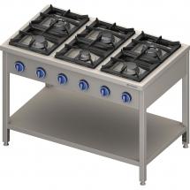 Kuchnia gazowa wolnostojąca 6 palnikowa z półką 36.5 kw - g20 (gz50)